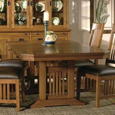 Hekman 84020 Arts Crafts Mission Pointe Trestle Dining Table