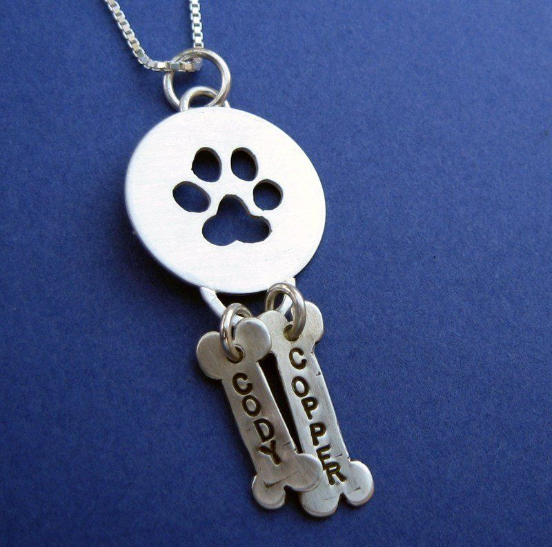 Paw Print Pendant With Two Pet Name Charms- In Sterling