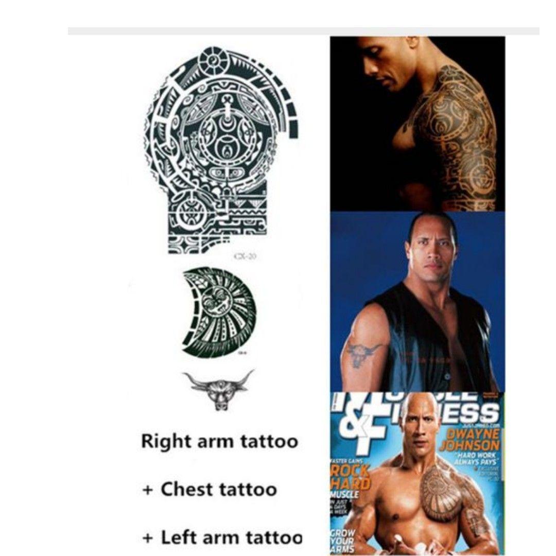 3 sheets tatuagem dwayne johnson star 3d big size large