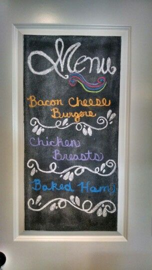 Chalk Board on our pantry door!  Rustoleum paint from Home Depot $10...Crayola chalk $0.99 from Fred Meyer...eraser $1.79 Fred Meyer...follow paint can instructions...Rustoleum also has a video...3 coats...have a blast!!!