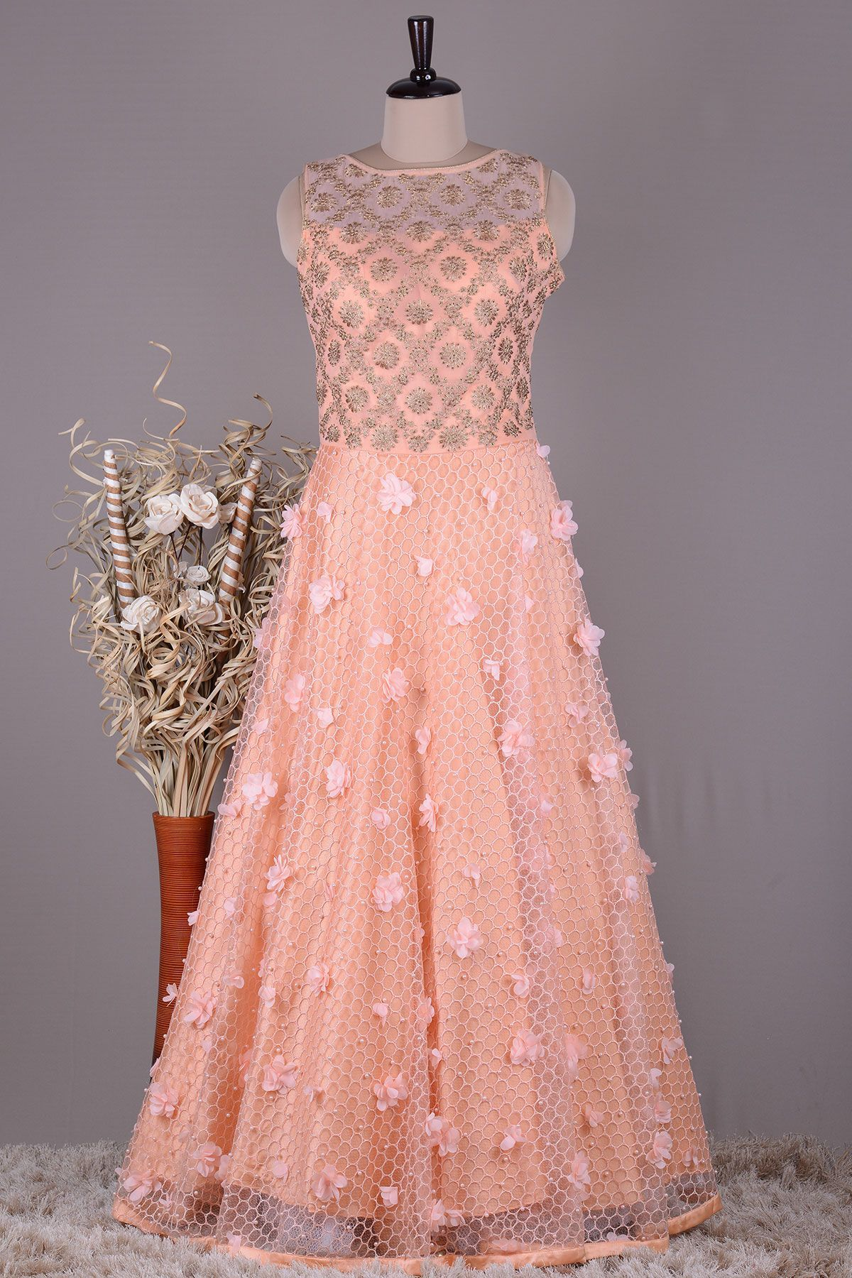 a06935d9927 Buy Peach Stone Embroidered Net Evening Gown Online