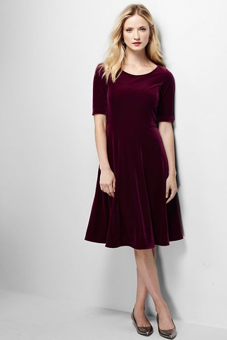 Women's Elbow Sleeve Velvet A-line Dress - It doesn't matter how old you are – sometimes you just have to twirl. (Even if it's only in the privacy of your own home.) This dress might encourage you to take such behavior public. It's partly the silhouette (that swishy flared skirt) and partly the fabric (dressy-yet-comfortable knit velvet).