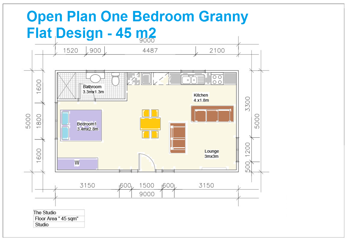 1 Bedroom Granny Flat Designs Granny flat, 1 bedroom