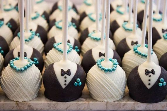 One Dozen Bride And Groom Wedding Cake Pops By Melindasmarvels