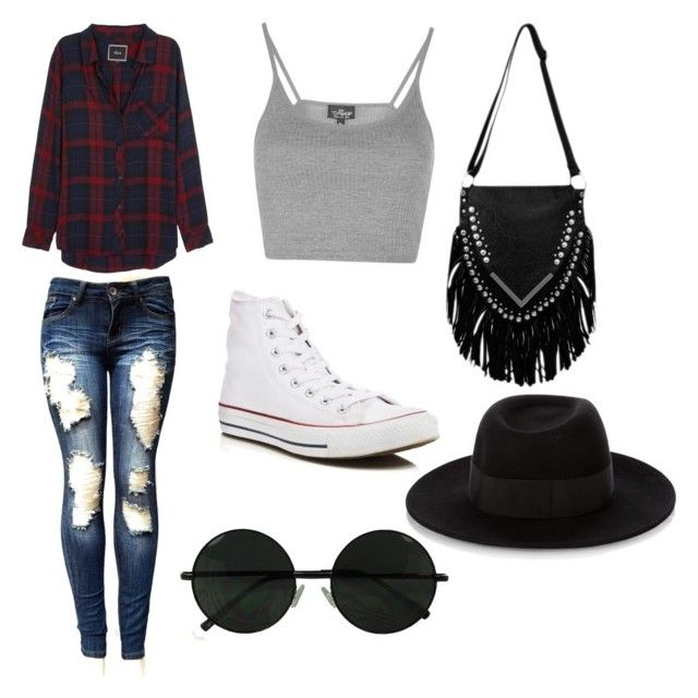 """""""Hannah style"""" by fernandod75 ❤ liked on Polyvore featuring Rails, Topshop, Converse and Maison Michel"""