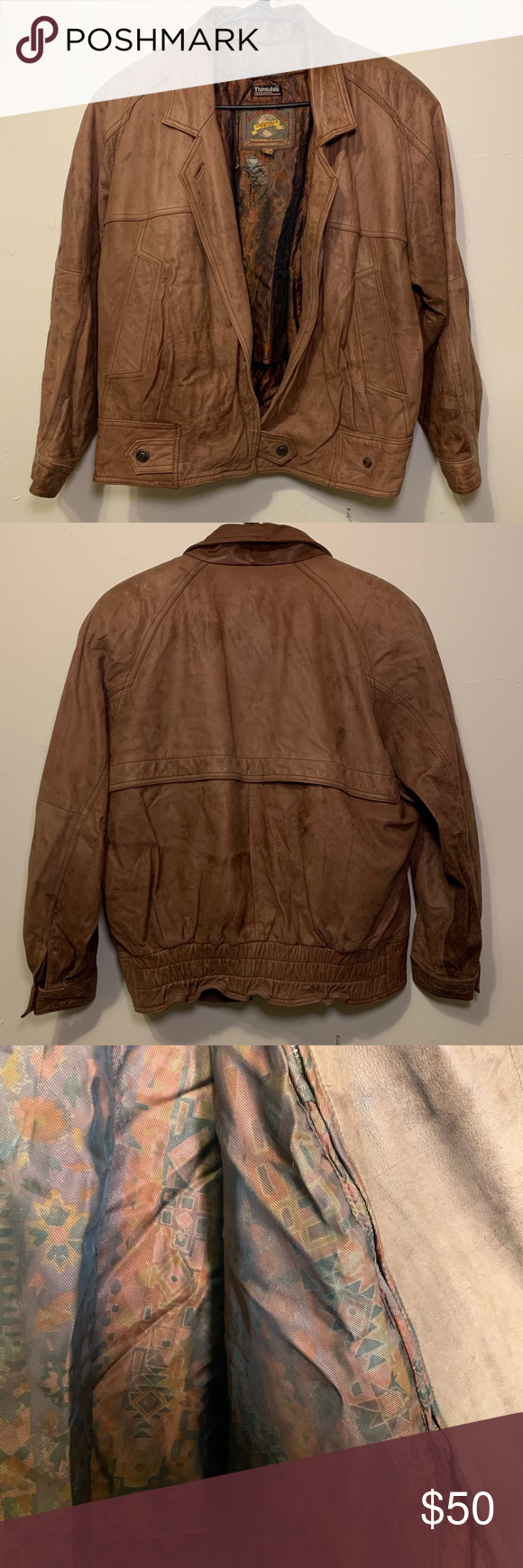 Vtg Adventure Bound Brown Leather Bomber Jacket M Leather Bomber Jacket Brown Leather Bomber Jacket Leather Bomber [ 1740 x 580 Pixel ]