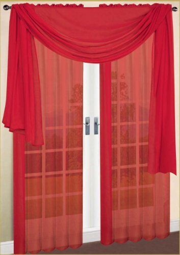 Scarf Sheer Voile 60 X216 Solid Red By Royal Luxury Linen By