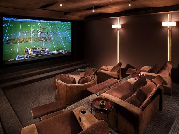 Delicieux This Plush Home Theater Is The Perfect Place To Host A Movie Night Or Have  Friends Over To Watch A Game. Tiered Seating, Paneled Walls And Sconce  Lighting ...