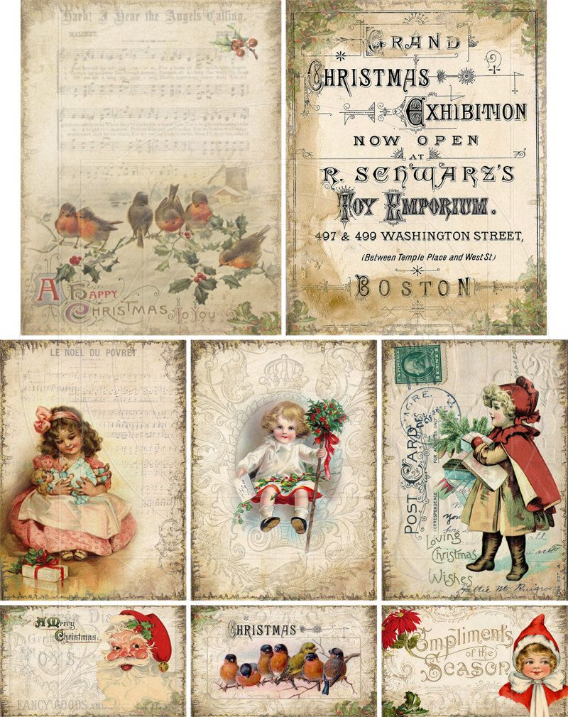 printable Vintage Winter digital download atc tag size images instant download Christmas digital collage sheet vintage girls