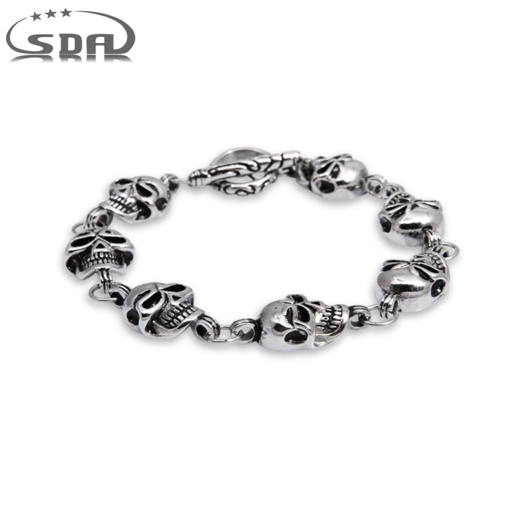 Sda rock punk style l stainless steel skull bracelet for men