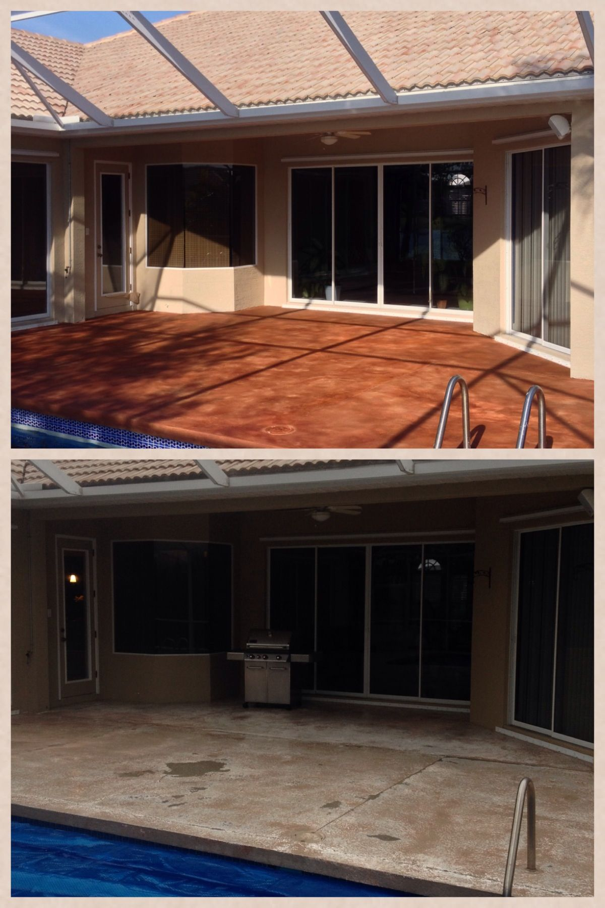 before and after red concrete stain pool deck resurfacing