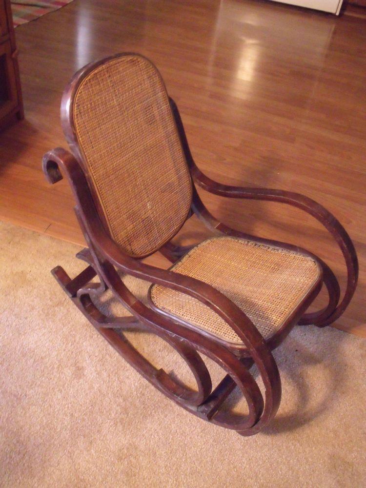 Groovy Antique Vtg Child Doll Bent Wood Cane Small Rocking Chair Spiritservingveterans Wood Chair Design Ideas Spiritservingveteransorg