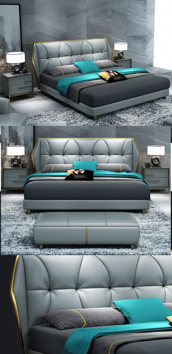 Nordic Simple Bedroom Double 1 8 Meters Stainless Steel Double Bed Designs Bed Back Design Bed Headboard Design