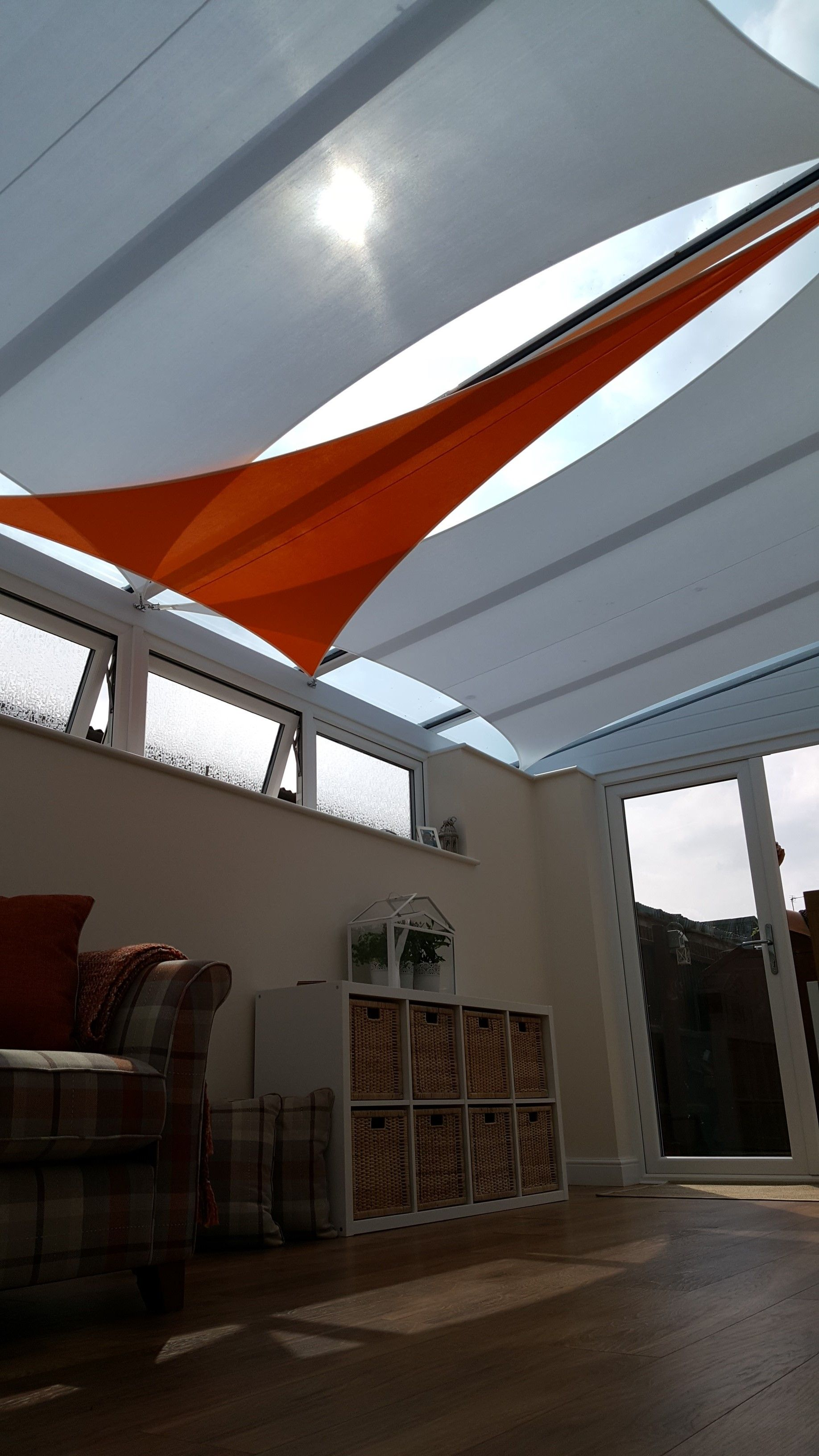 Add A Splash Of Colour To Your Sail Blinds To Keep Things Interesting Conservatory Design Conservatory Roof Blinds Conservatory Roof