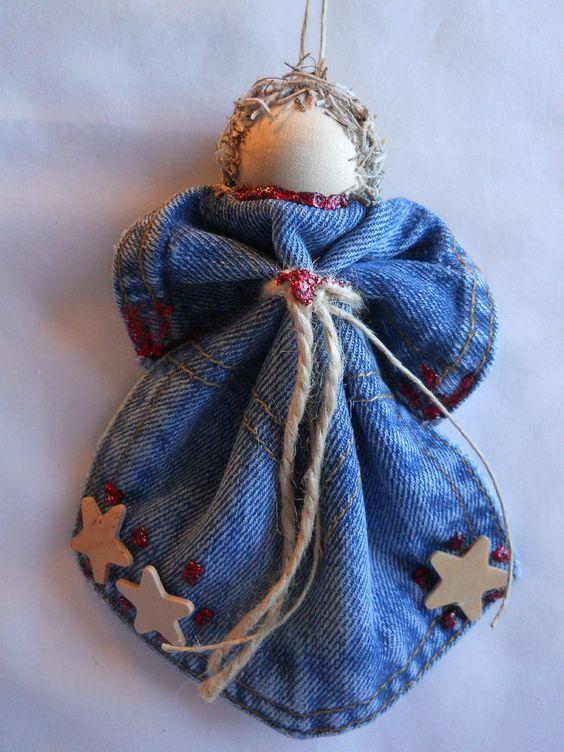 Red & Wood Star Levi Angel Ornament Denim Pocket Christmas Wreath Handmade: