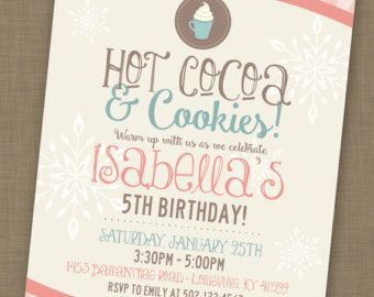 Printable Hot Cocoa Cookies Party January Birthday Invitation