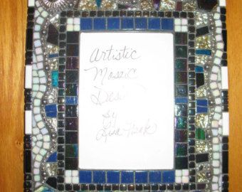 """Iridescent Black, White ,Silver & Blue MOSAIC PHOTO FRAME, 9 1/2 x 13"""" Fits 5x7 Picture, Mosaic Glass, Silver Mirror Tile,Ooak Gift,Handmade"""