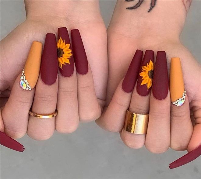 24 Newest Acrylic Coffin Nails Art Ideas In Fall In 2020 Fall Acrylic Nails Sunflower Nails Cute Acrylic Nail Designs