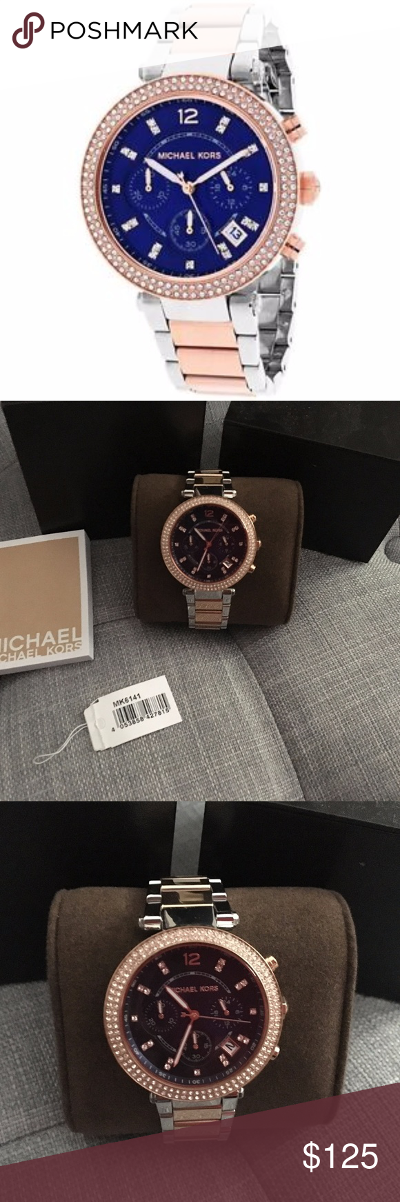 54dba8aae485 Michael Kors MK6141 Parker Rose Gold Blue Watch Michael Kors women s MK6141  parker rose gold watch