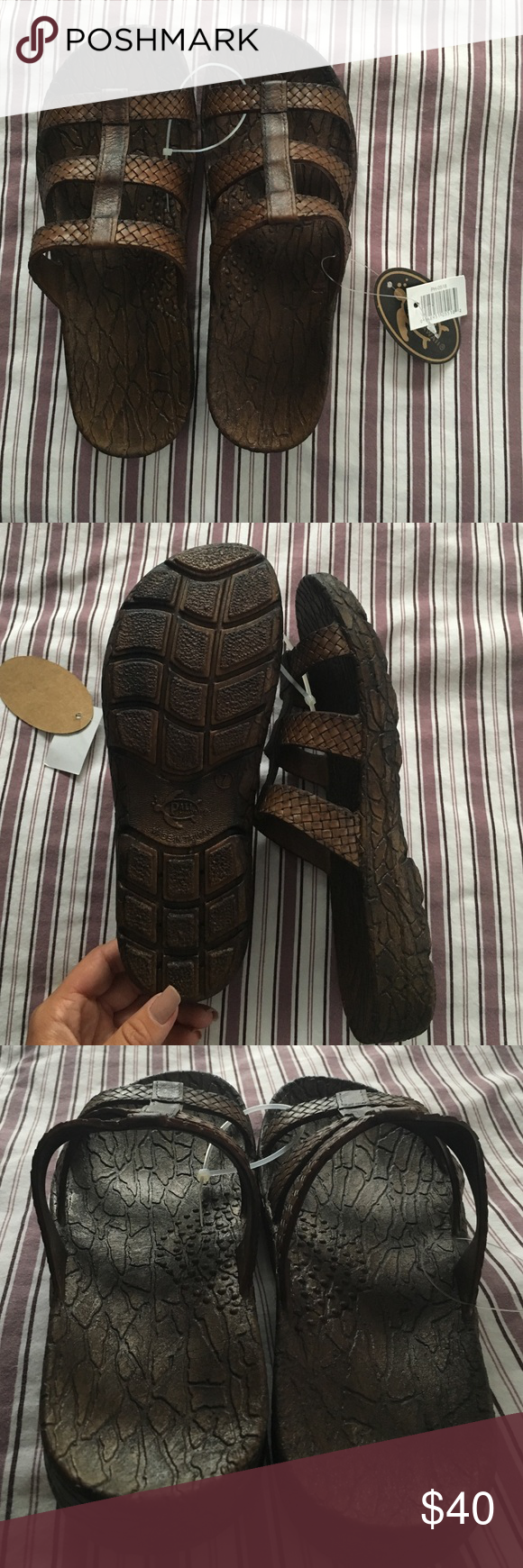 Jandals Brown Jandals from Hawaii! Never worn so they are in perfect condition. Very comfortable. Size says 7 but the size runs differently, it fits me perfectly and I'm a size 8 in shoes. Shoes Sandals