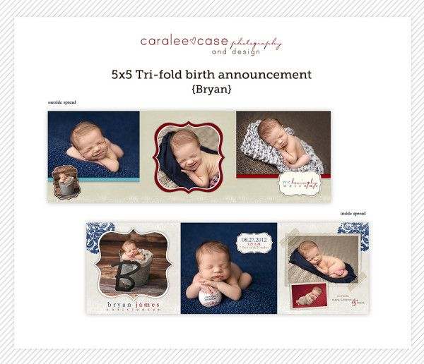 5x5 Trifold Birth Announcement Template by Caralee Case – Tri Fold Birth Announcement