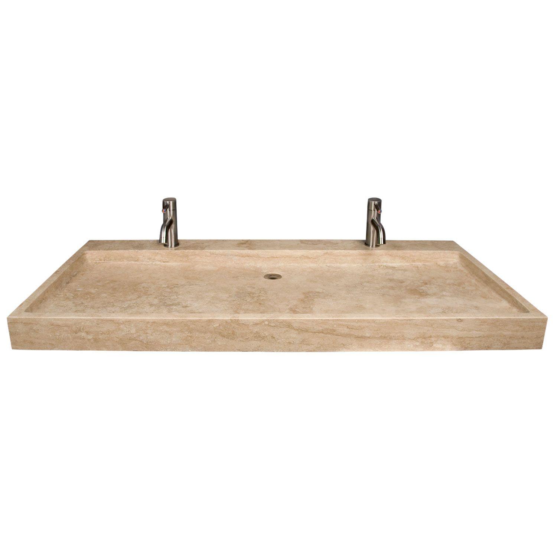 Polished Beige Travertine Trough Sink Trough Sink Trough Sink Bathroom Double Trough Sink [ 1500 x 1500 Pixel ]