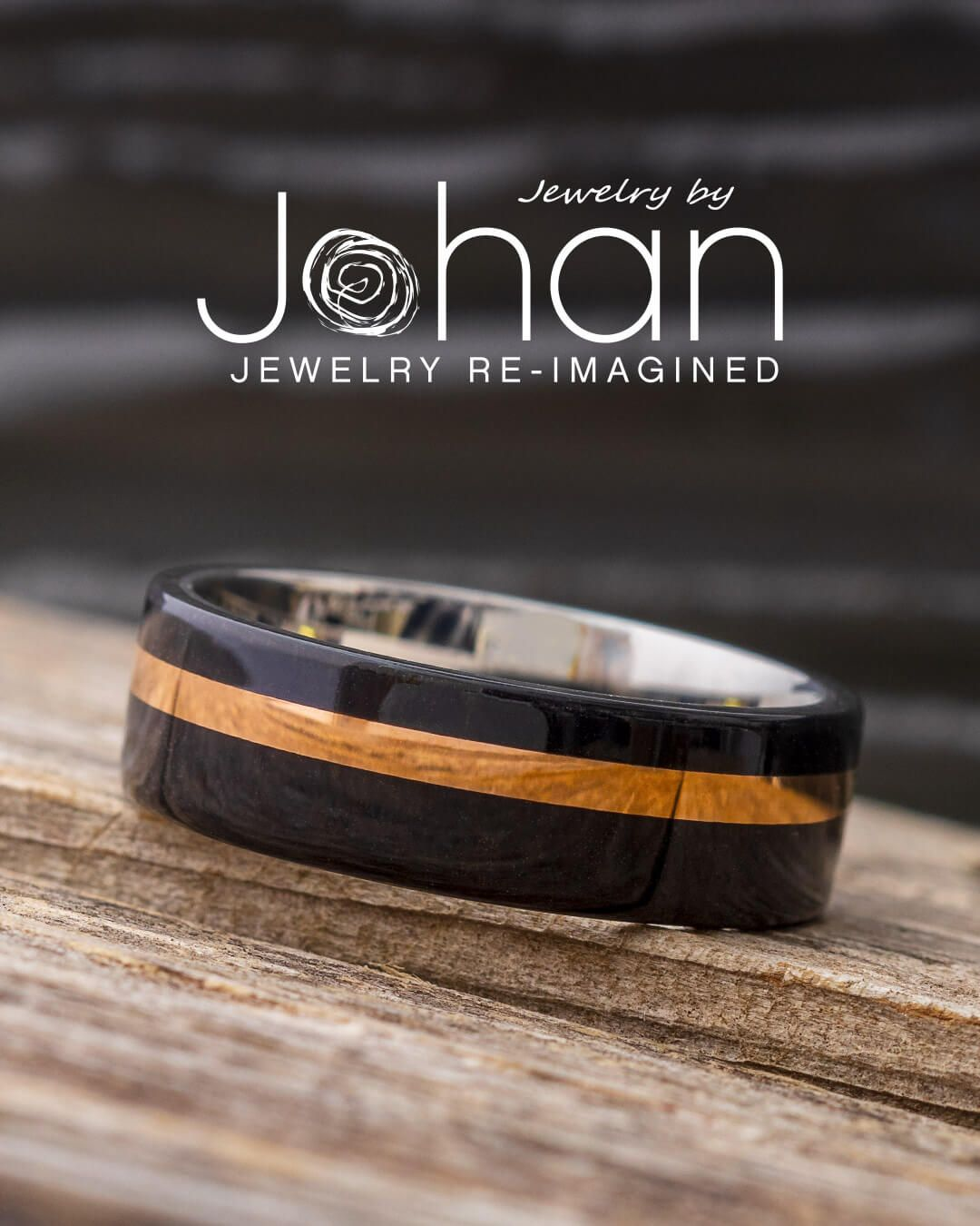 Titanium 6mm Brushed Black Plated Finish With Rose Gold Plated Sides /& Stepped Edges Wedding Band