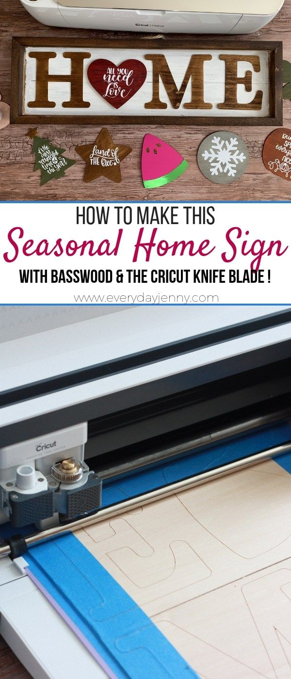 Check out how to make a seasonal home sign with your Cricut Maker and Knife blade. Plus tips on using your Knife Blade to cut basswood #Cricut #CricutMade #CricutMaker