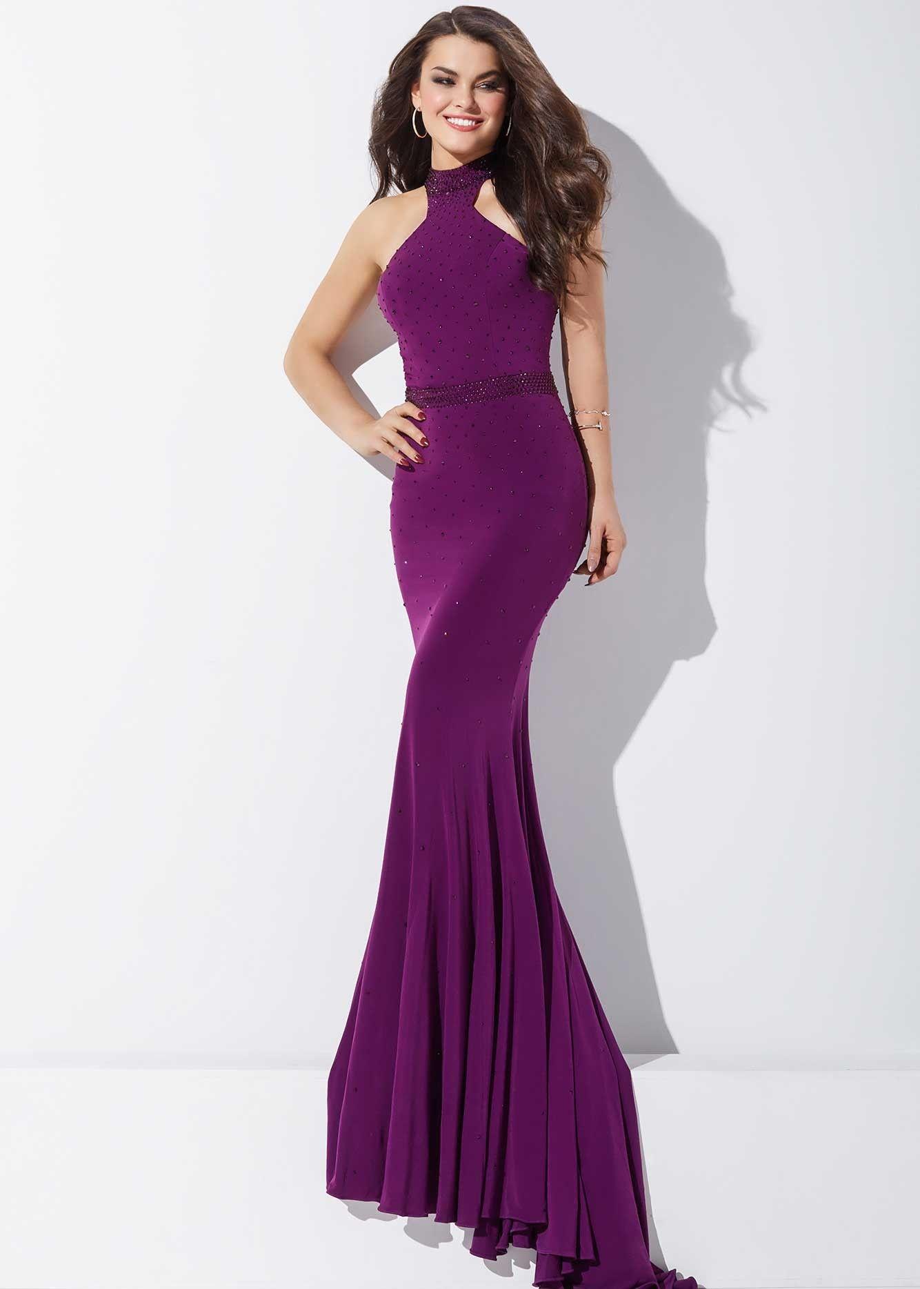 Jovani 33144 Beautiful Jeweled Purple Jersey Prom Dress | Purple ...