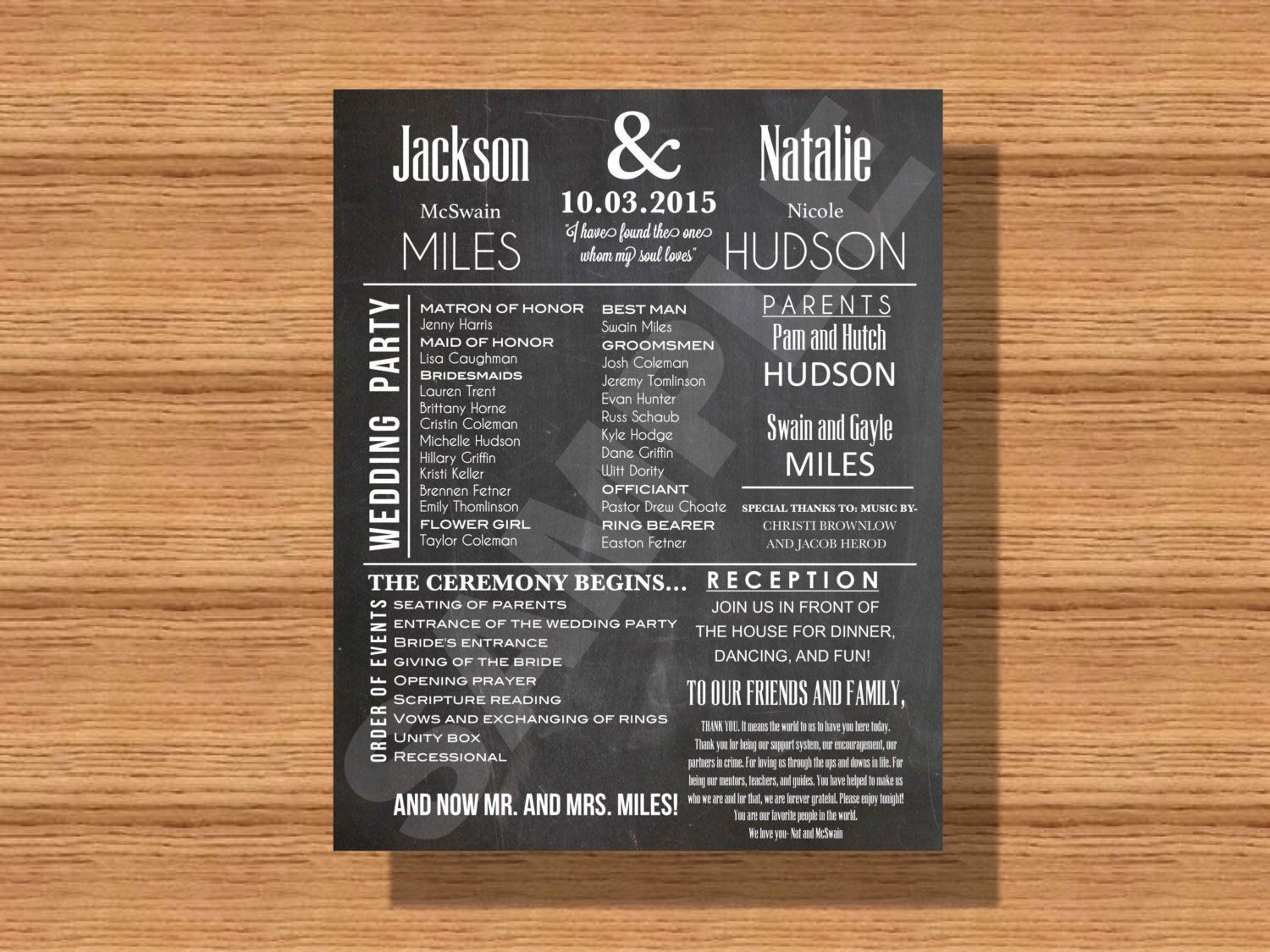 Chalkboard Wedding Program With Thank You Note Bridal Party