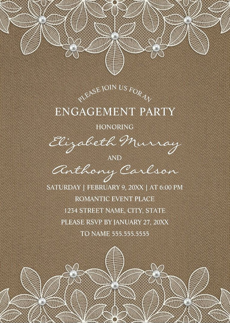 Rustic Burlap Engagement Party Invitations - Country Lace and ...