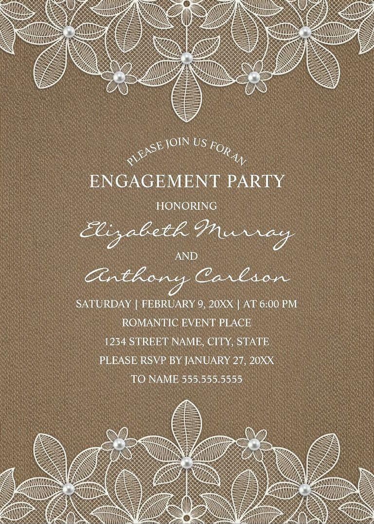 Rustic Burlap Engagement Party Invitations Country Lace and – Vintage Engagement Party Invitations