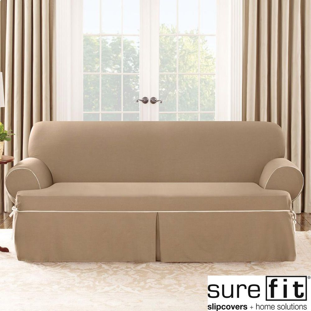 Sure Fit Contrast Cord Cocoa Sofa T Cushion Slipcover   Overstock.com  Shopping