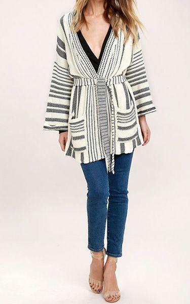 Annual Ritual Black and White Striped Cardigan Sweater via @bestchicfashion