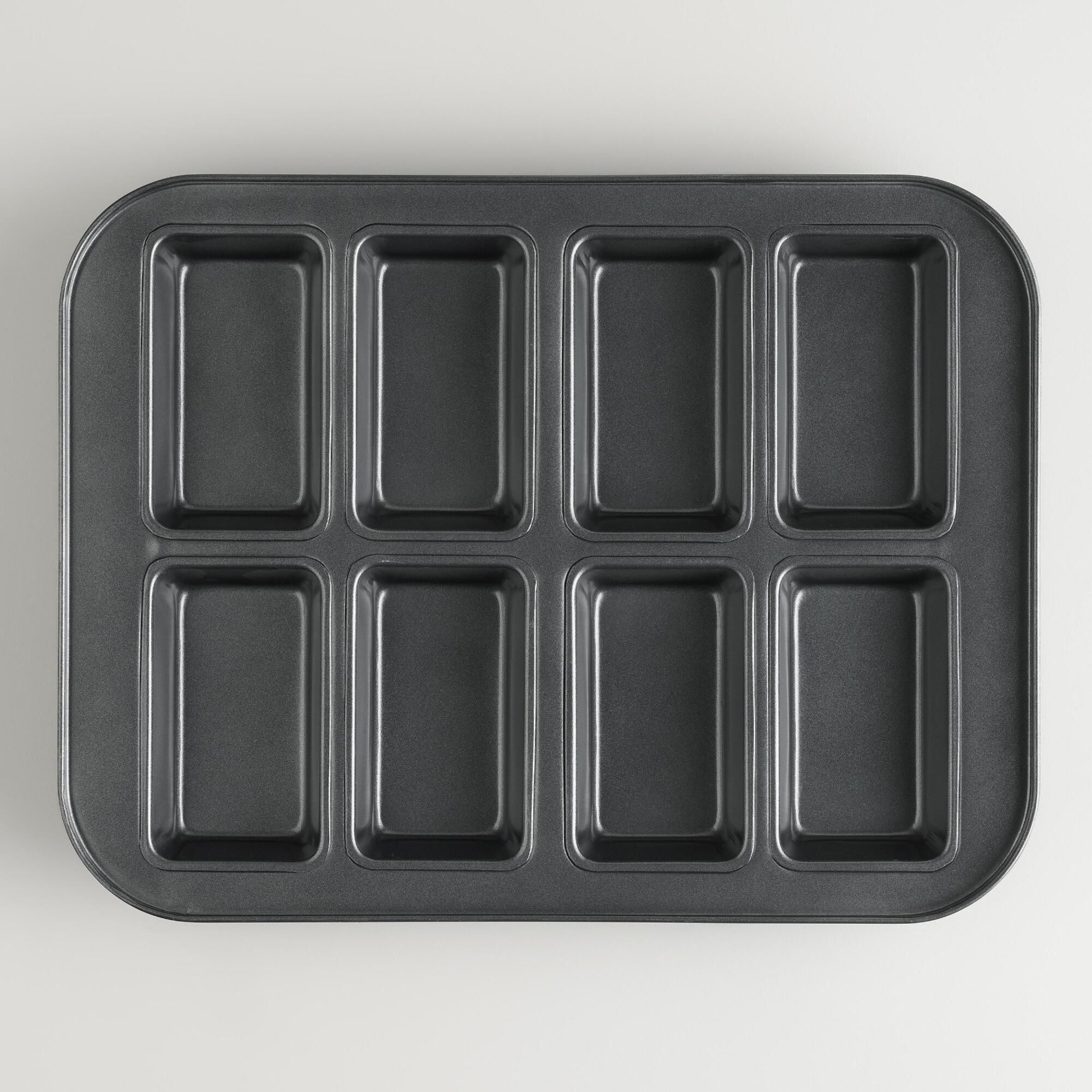 Use our exclusive 8-Mold Mini Loaf Pan to bake up perfect individual loaves of delicious savory or sweet breads. It's great for bakers who love giving freshly baked gifts. The nonstick coating results in even browning when baking and easy release after cooling, while making cleanup a snap.