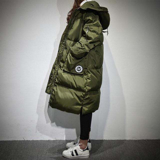 Women Jacket Down Overcoats Military Warm Embroidery Hooded Fit Loose Parkas Duck Winter Fitaylor