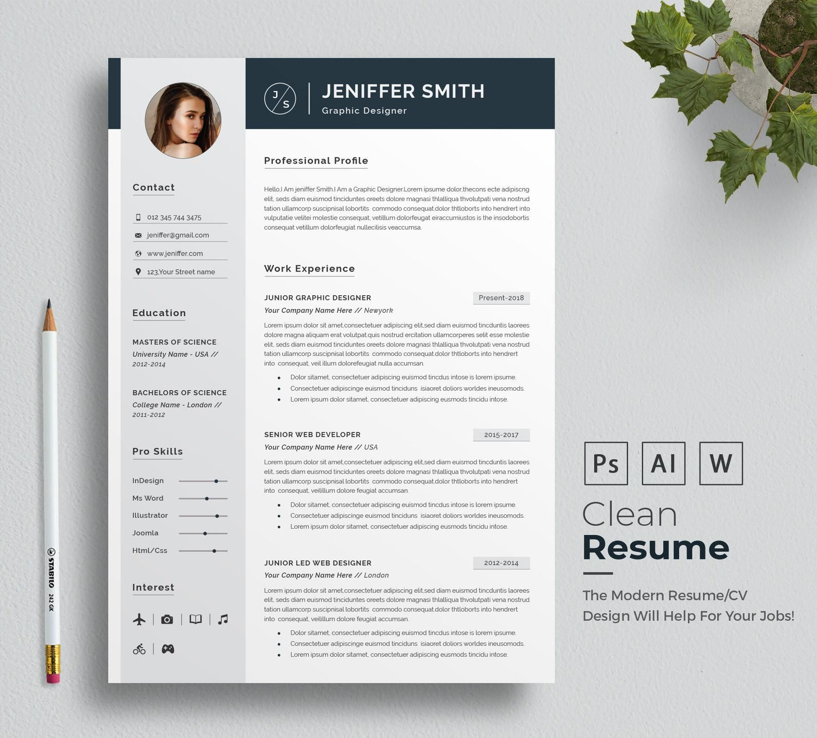 Professional Resume Template Minimalist Resume Clean Etsy Modele Cv Word Modele De Cv Professionnel Cv Lettre De Motivation