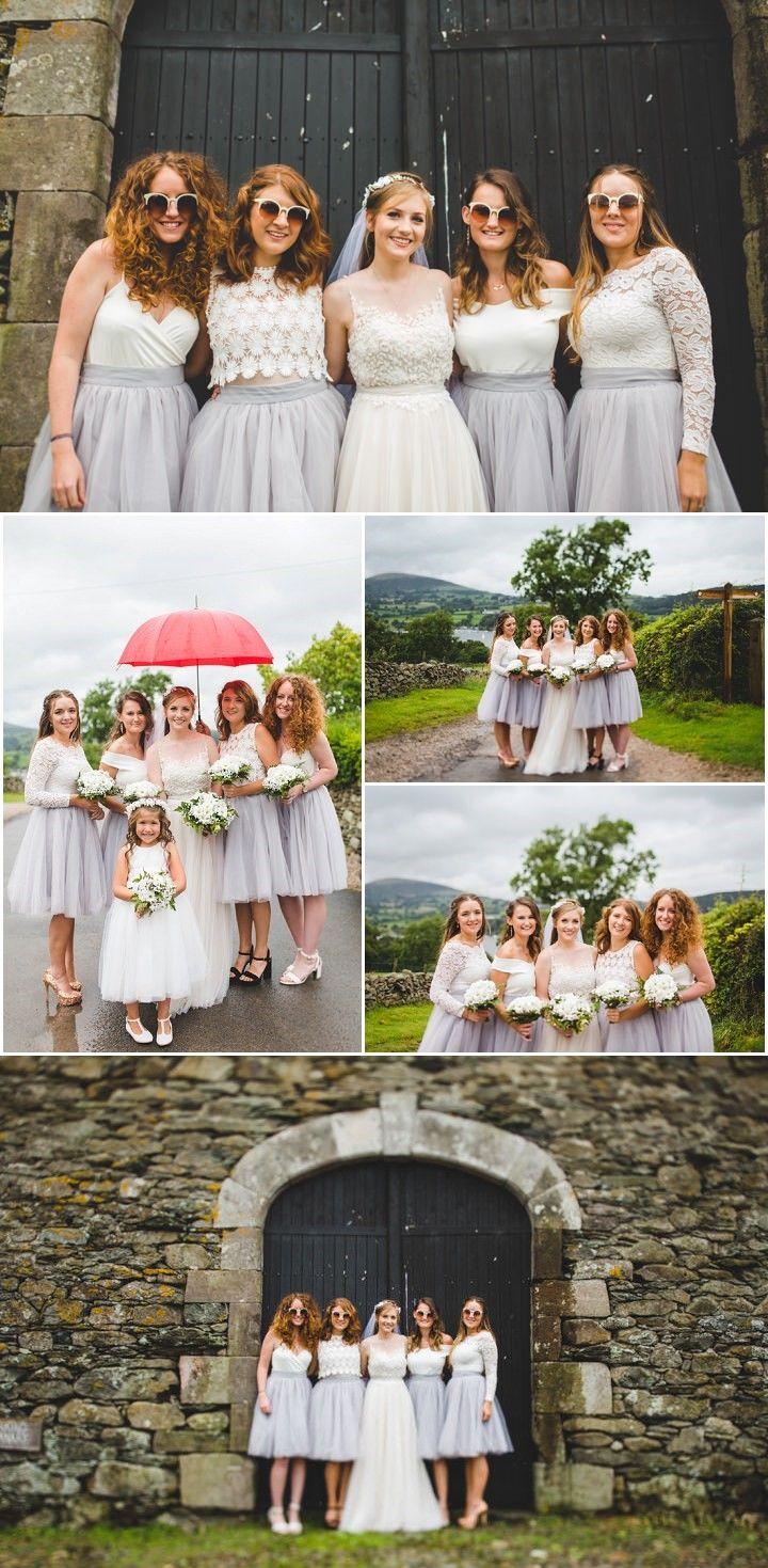 Aline sweetheart sleeveless grey tulle bridesmaid dress big day
