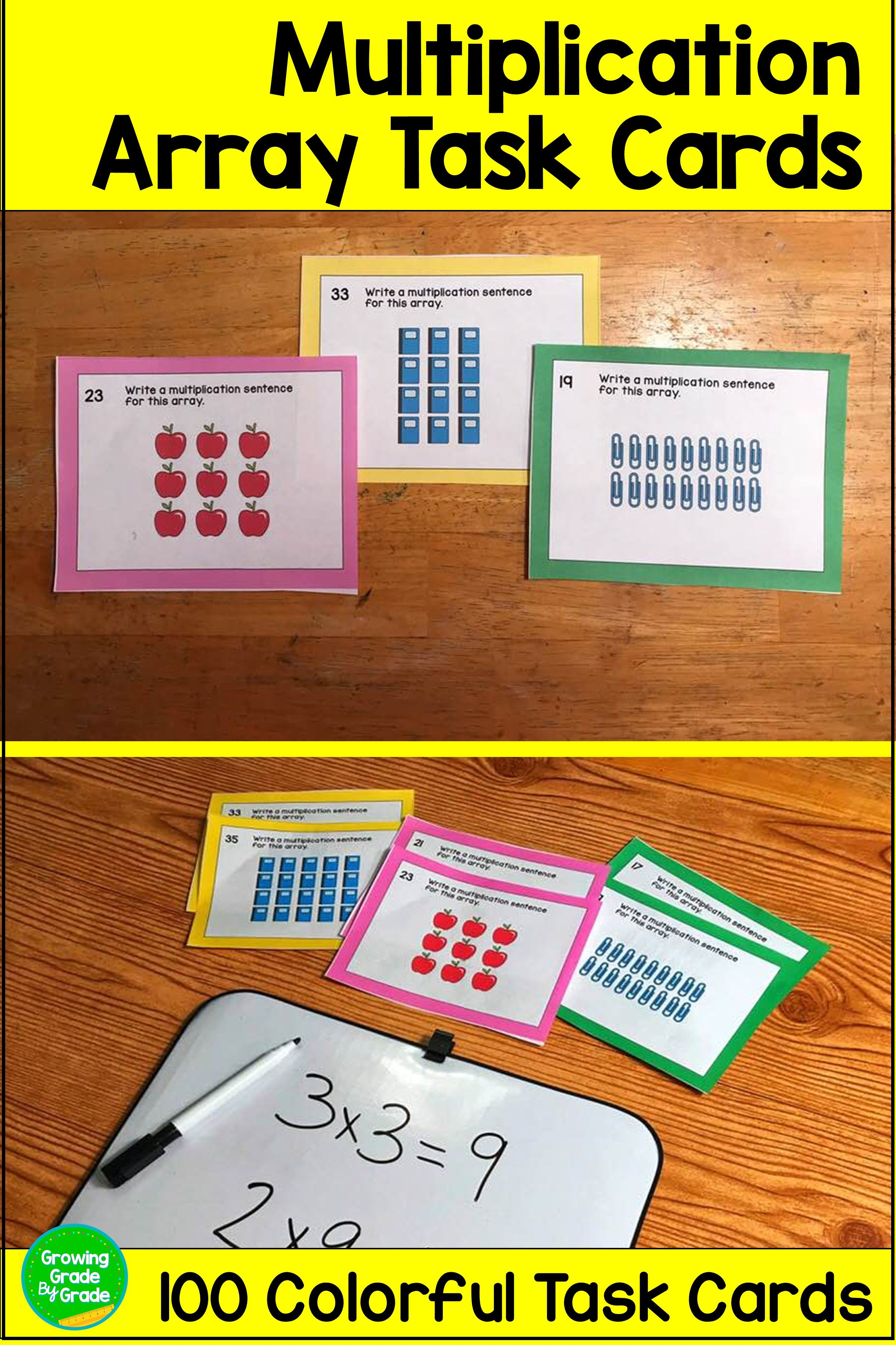 Arrays And Area Model Multiplication Task Cards
