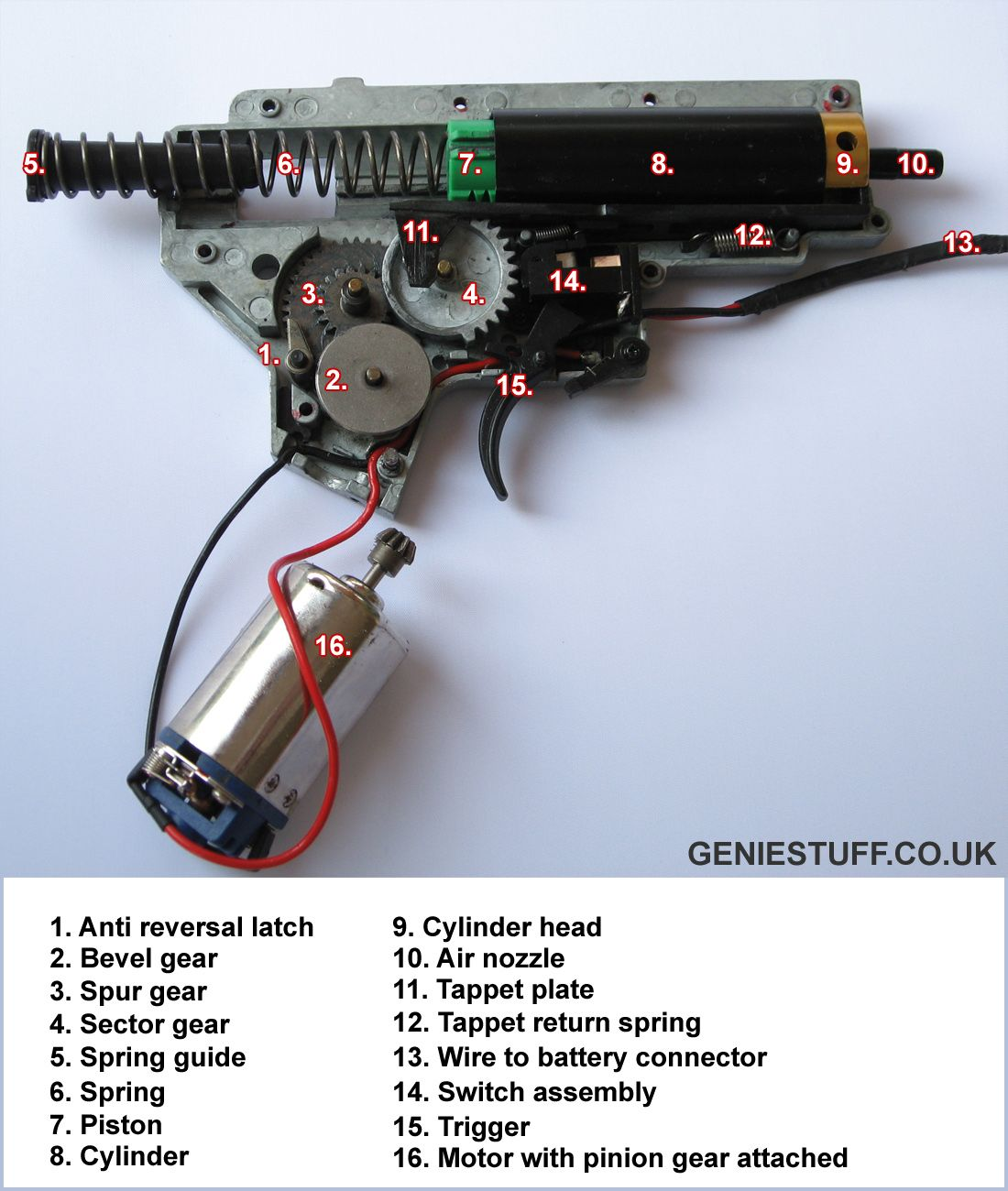 airsoft m4 aeg internal gearbox layout diagram with component M4 Parts Diagram