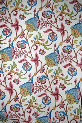 Cotton Crewel Embroidered Upholstery Fabric Pink And Blue Joe001 Best Of Kashmir