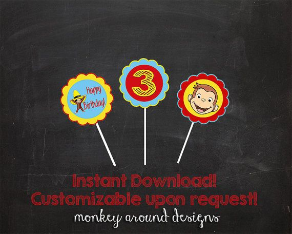 Hey, I found this really awesome Etsy listing at https://www.etsy.com/listing/219065718/curious-george-cupcake-toppers-instant