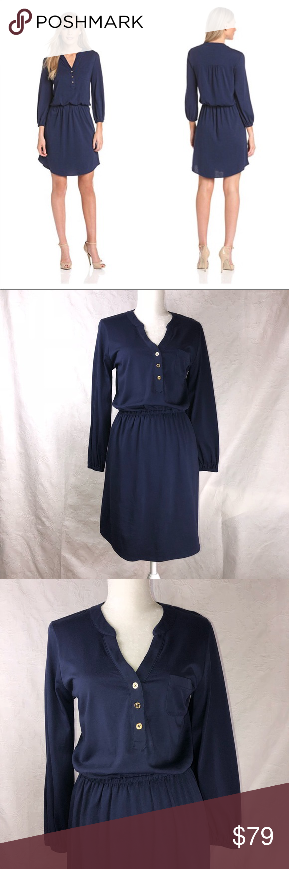Nwt lilly pulitzer beckett dress m new navy blue with gold buttons