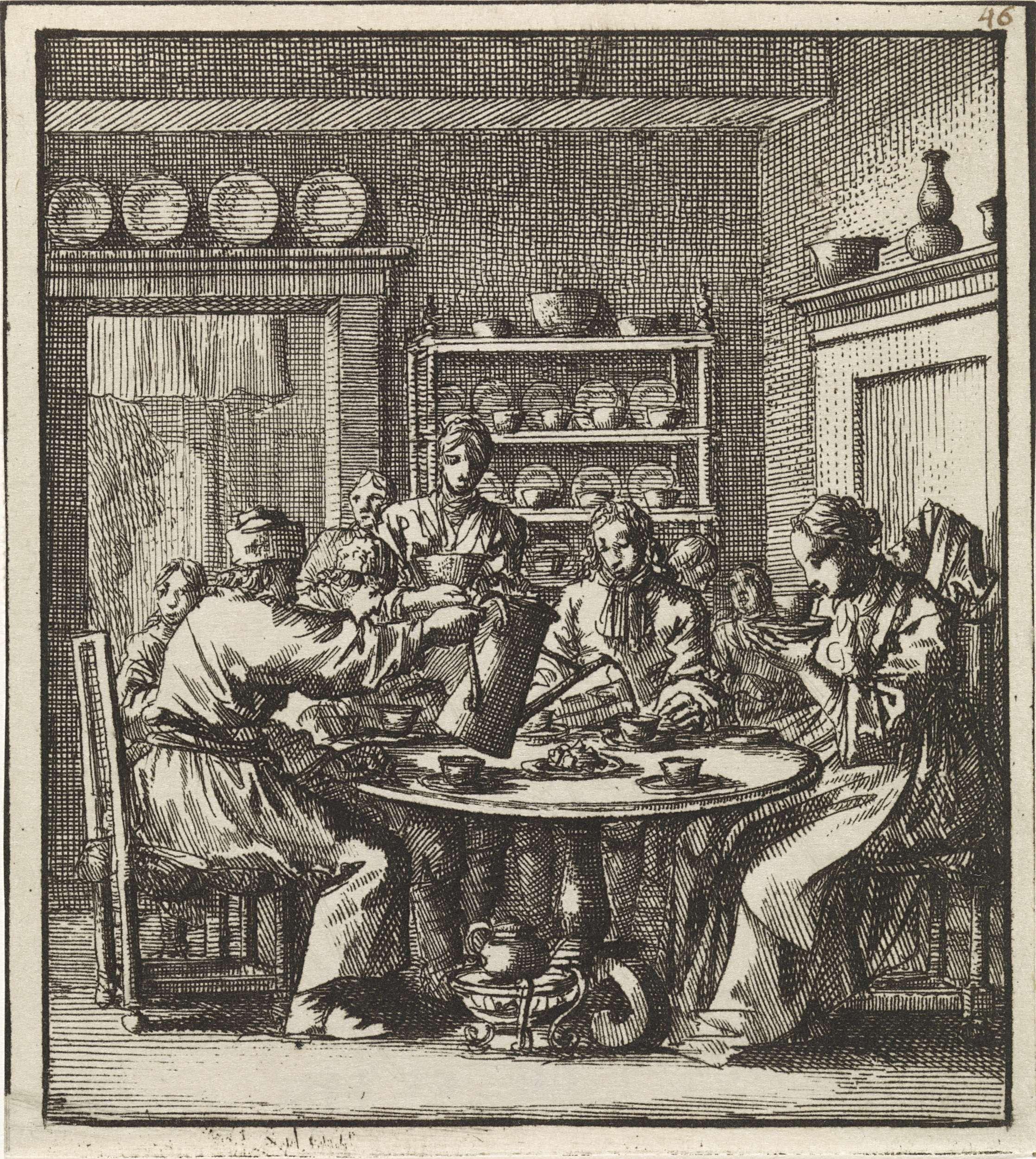 Jan Luyken | Aan een tafel zit een gezelschap koffie te drinken, Jan Luyken, wed. Pieter Arentsz & Cornelis van der Sys (II), 1711 |