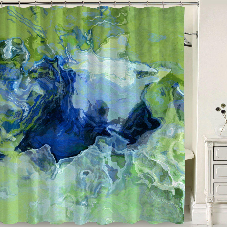 Designer Artwork Abstract art bathroom shower curtain Green Blue