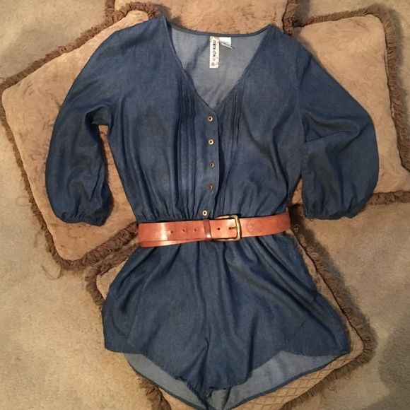 Romper Denim romper. Stated size is large but fits more like a medium. ••belt NOT included Other