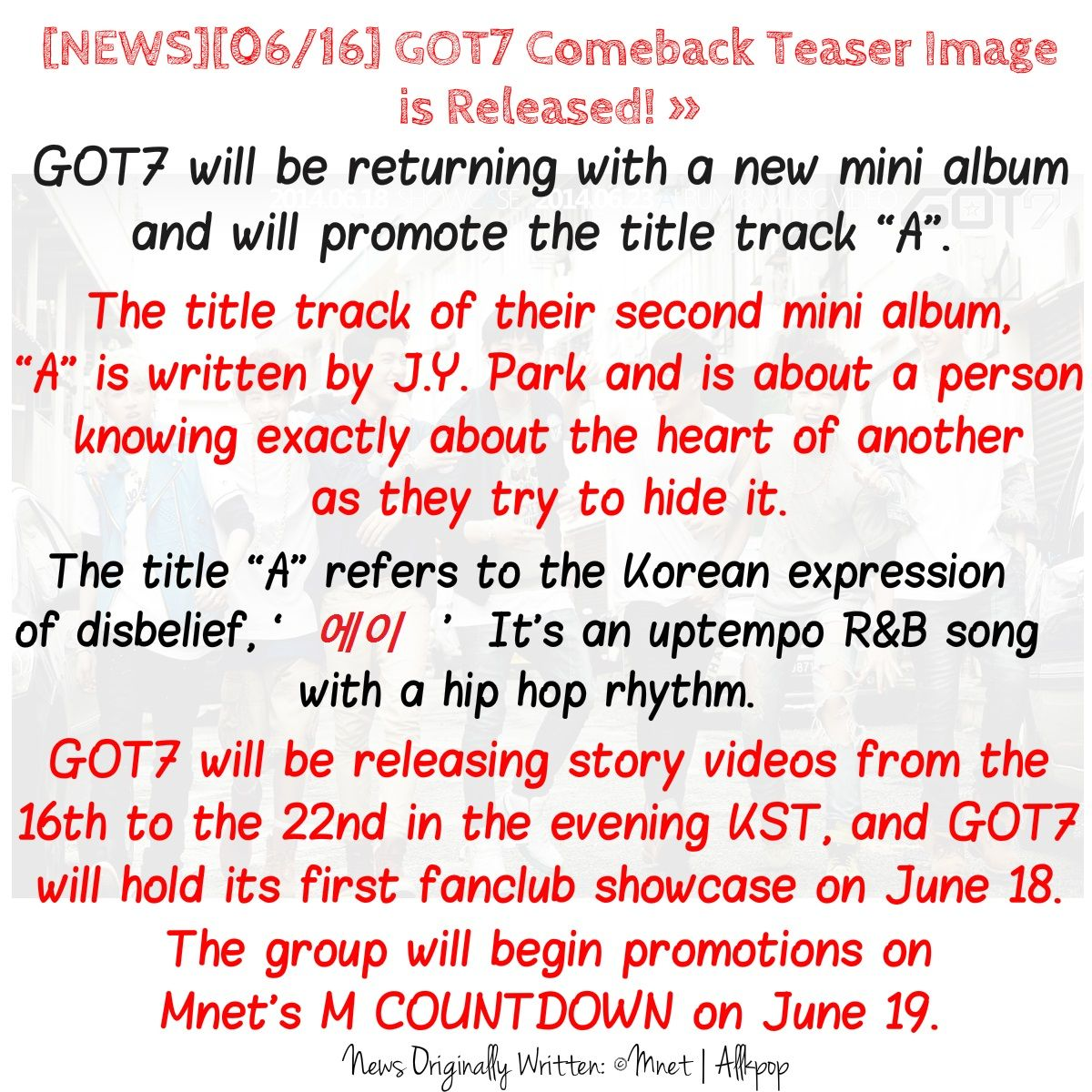 [NEWS][06/16] GOT7 Comeback Teaser Image is Released! » #갓세븐 #에이 Official Channels for more information, please visit: ▶Homepage: http://got7.jype.com/ ▶Facebook: https://facebook.com/GOT7Official ▶Twitter: https://twitter.com/GOT7Official ▶Fancafe: http://cafe.daum.net/GOT7Official
