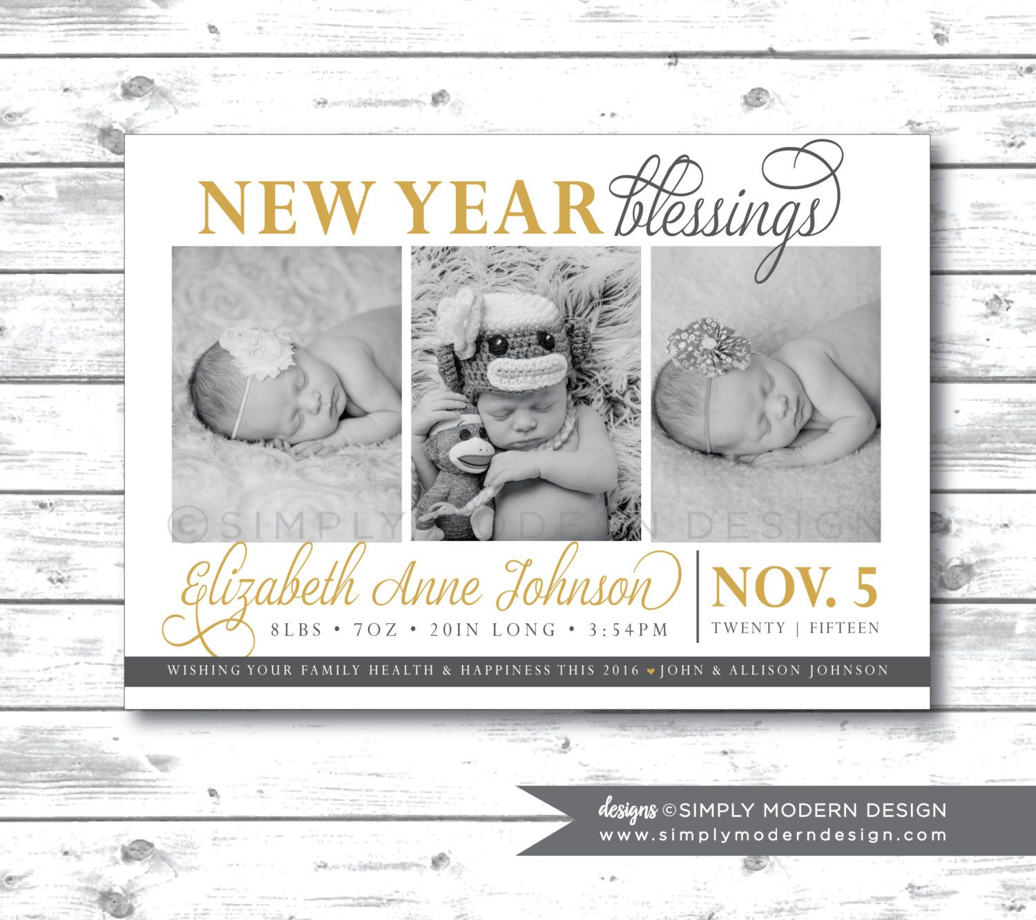 Holiday birth announcement new years holiday card new year – Baby Announcement Cards Etsy