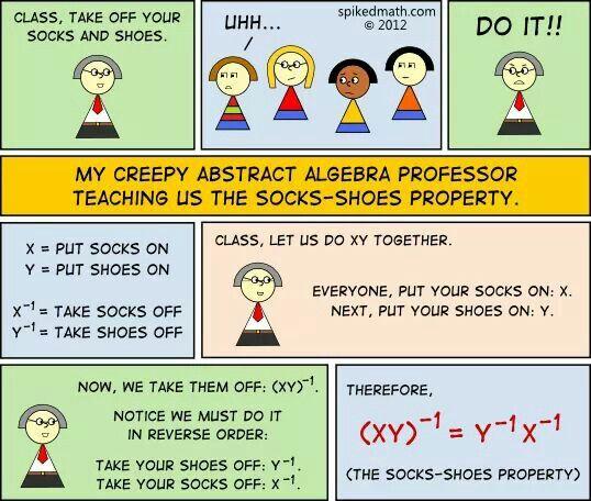 Math The Sock Shoe Property Essay Humor Funny History Of Mathematic Topics Topic