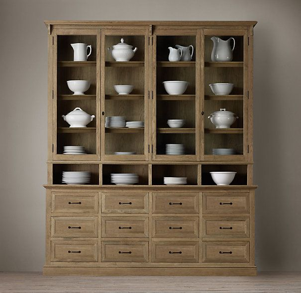 Apothecary Double Door Sideboard Glass Hutch